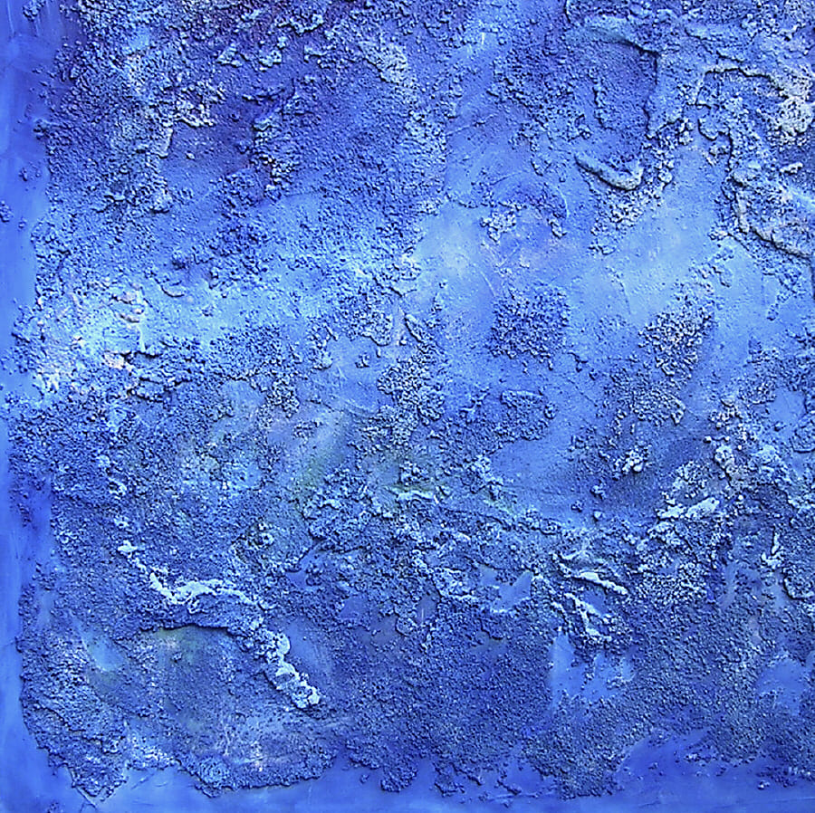 like a bolt out of the blu, Acryl, Sand auf Leinwand / 100 x 100 cm