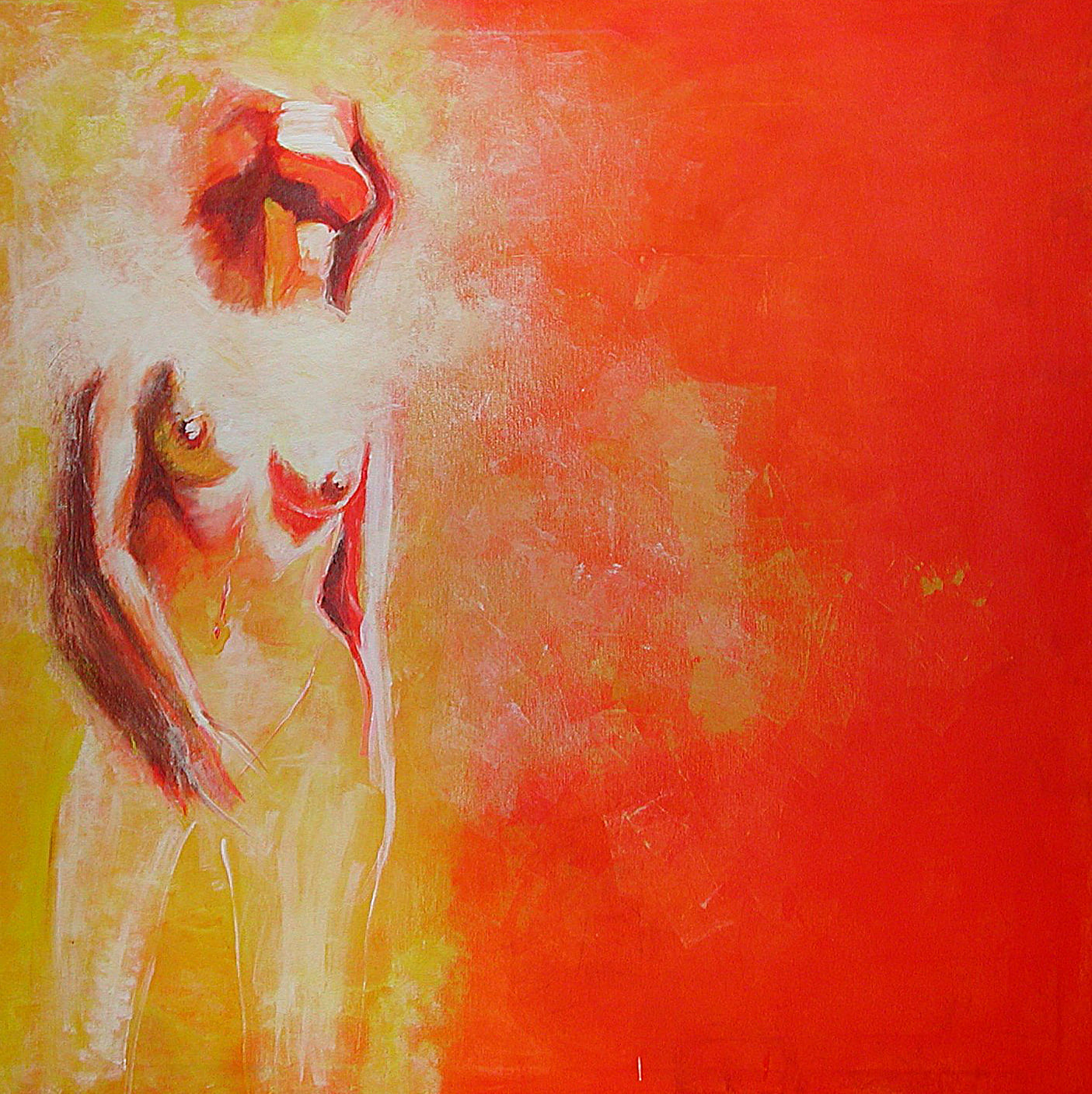woman in orange - Acryl auf Leinwand / 100 x 100 cm