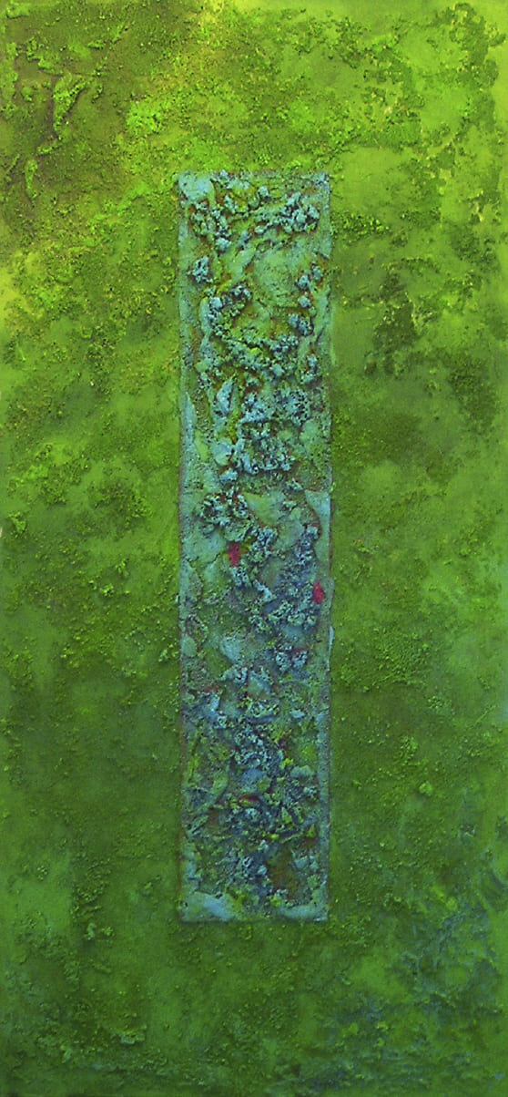 green window - Acryl, Sand auf Leinwand / 70 x 100 cm